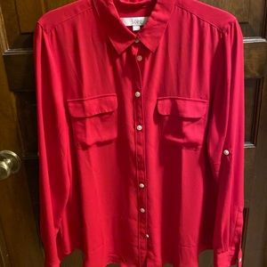Red button down loft blouse! NWOT